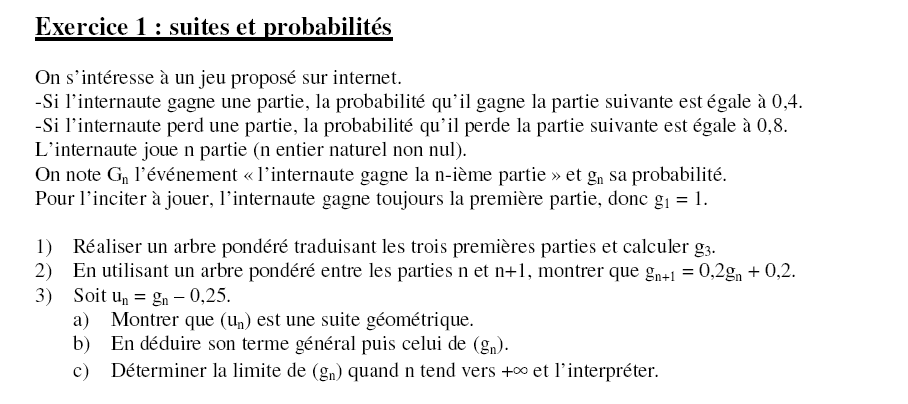 Exercice Math Terminale S Proba Et Suite